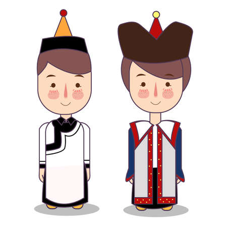 Mongolian boy and girl in national costume and hat. Cartoon children in traditional dress. Vector illustration flat. Foto de archivo - 126768229