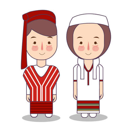 Myanmar Burma wedding Couple, cute Indonesian traditional clothes costume bride and groom cartoon vector illustration flat 向量圖像
