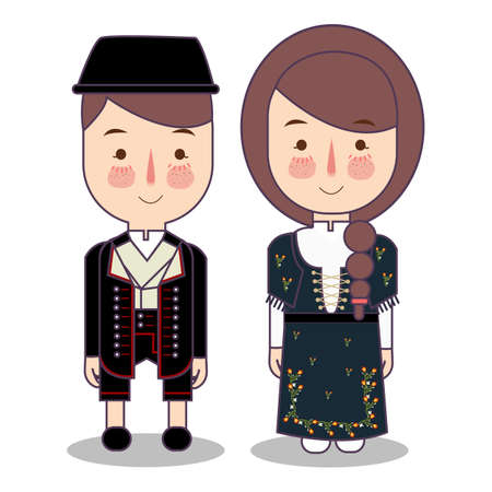 traditional national clothes of Norwegian Bunad. Set of cartoon characters in traditional costume. Cute people. flat vector illustrations.