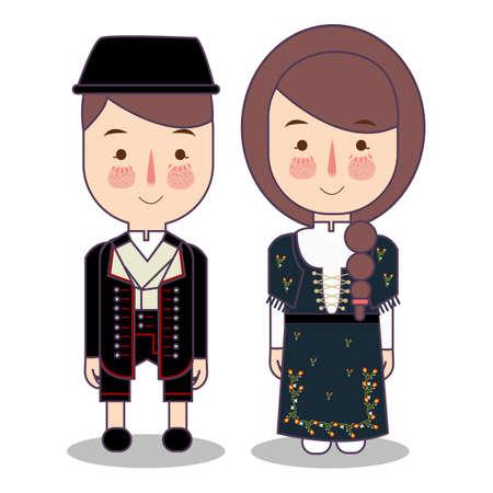 traditionelle nationale Kleidung des norwegischen Bunad. Satz von Zeichentrickfiguren in traditioneller Tracht. Süße Leute. flache vektorillustrationen.
