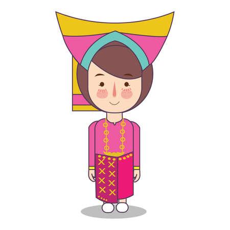 West Sumatra padang province fashion, cute girl Indonesian traditional clothes costume bride cartoon vector illustration flat Ilustrace