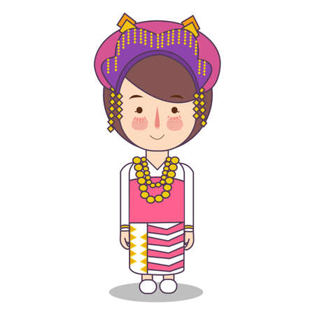 North Sumatra padang province fashion, cute girl Indonesian traditional clothes costume bride cartoon vector illustration flat Foto de archivo - 126746708