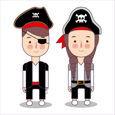 cute set of children pirates costume for halloween party. kids girl and boy wearing fantasy character clothes. Vector illustration.