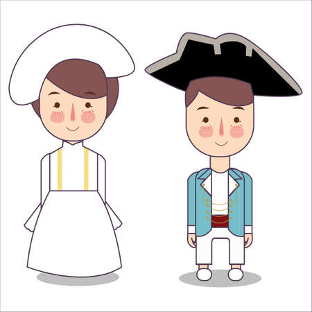Victorian era France Europe traditional national clothes. Set of cartoon characters in traditional costume. Cute people. Vector flat illustrations. Foto de archivo - 126746709