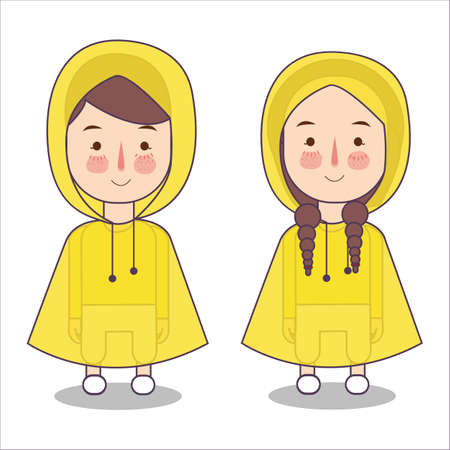 Cute little girl and boys playing wearing rain coat and boots vector stock illustration flat Foto de archivo - 126746710
