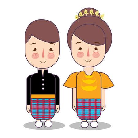 Makassar Macassar province wedding Couple, cute Indonesian traditional clothes costume bride and groom cartoon vector illustration flat Foto de archivo - 126746711