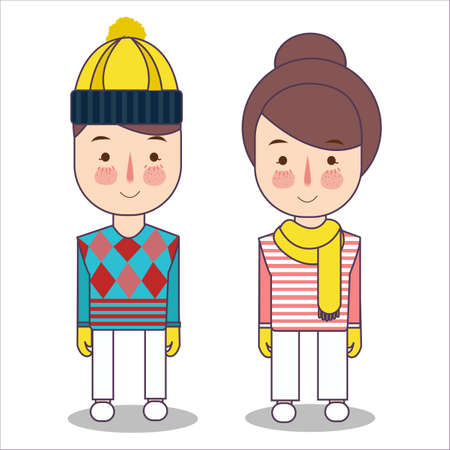 Happy children in winter clothes wearing hat and scarf. girl and boy ready for cold and snow. Vector illustration. Foto de archivo - 126746712