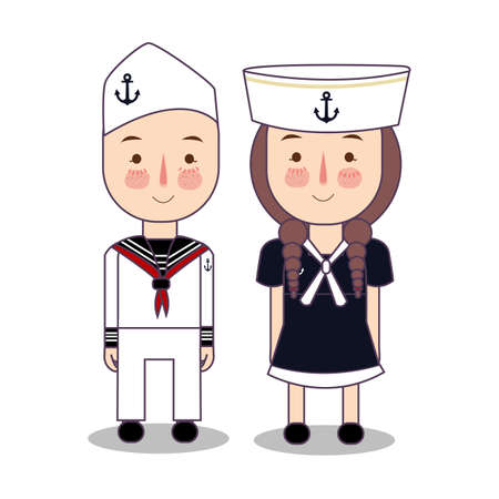 Vector cartoon illustration of cute nautical sailor boy and girls isolated against white background. vector flat Foto de archivo - 126746713
