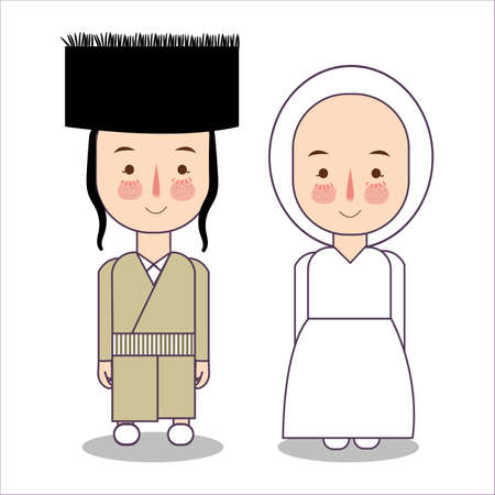 orthodox jewish wedding clothes traditional national. Set of cartoon characters in traditional costume. Cute people. flat illustrations.