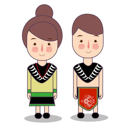 Papua province wedding Couple, cute Indonesian traditional clothes costume bride and groom cartoon vector illustrationflat Foto de archivo - 126489424