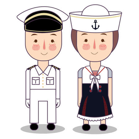 Vector cartoon illustration of cute nautical sailor boy and girls isolated against white background. vector flat Foto de archivo - 126489427