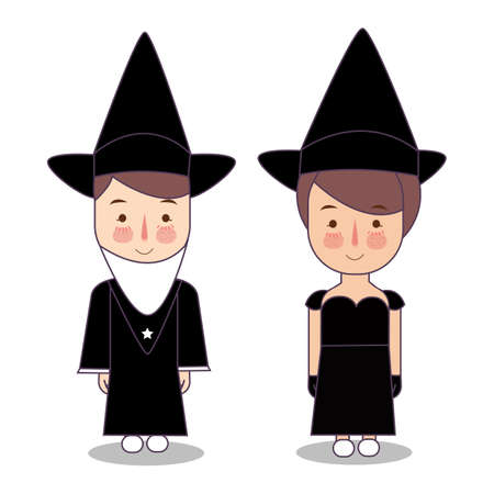 Design Elements for Halloween. Halloween Symbols. Witch Hat. Magician hat. Hats of the wizard. Kids wearing black costume fashion. vector illustration Foto de archivo - 126489428