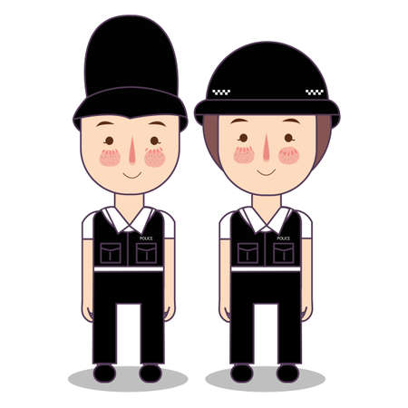 Illustration of Kids Wearing Police Cop British UK United Kingdom Costume. Vector flat drawing illustration. Иллюстрация