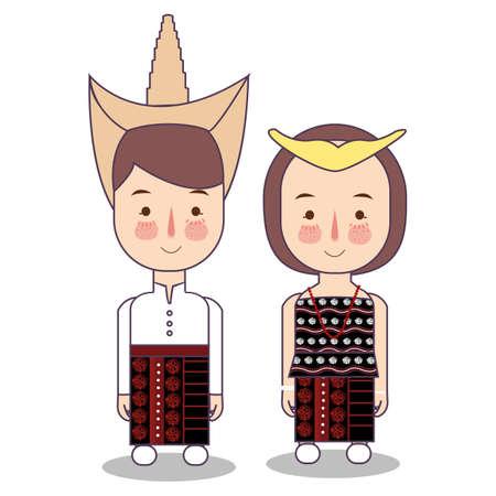 Rote Island East Nusa Tenggara province wedding Couple, cute Indonesian traditional clothes costume bride and groom cartoon vector illustration flat Foto de archivo - 126489439