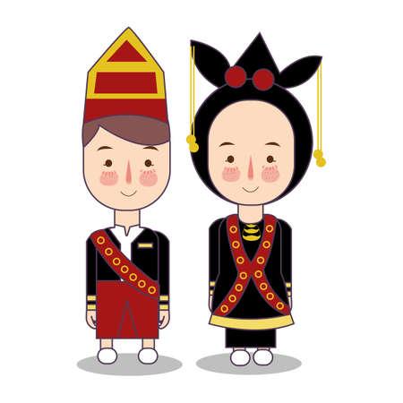 Matrimonio del fumetto della sposa e dello sposo della Malesia Sabah abiti tradizionali nazionali. Set di personaggi dei cartoni animati in costume tradizionale. Illustrazione vettoriale piatto.