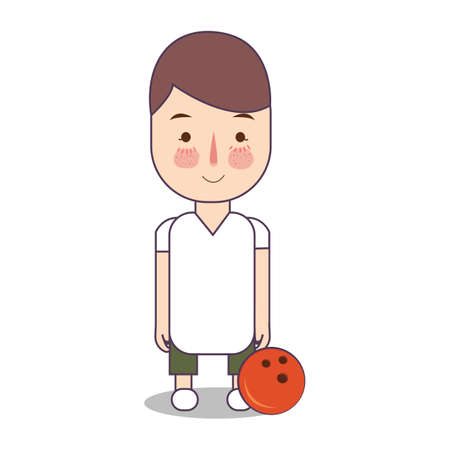 Bowling athlete with ball. Sport man avatar vector flat illustration of character on white background. boy standing in uniform. Foto de archivo - 126332644