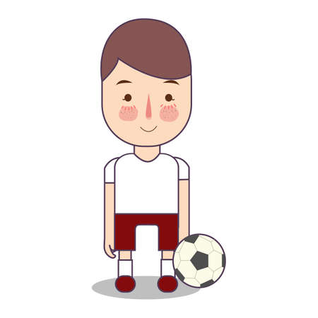 Soccer football athlete with ball. Sport man avatar vector illustration of character on white background. boy standing in uniform. Ilustrace