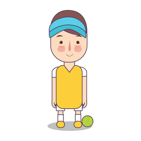 Tennis game athlete with ball. Sport man avatar vector flat illustration of character on white background. boy standing in uniform. Foto de archivo - 126332646