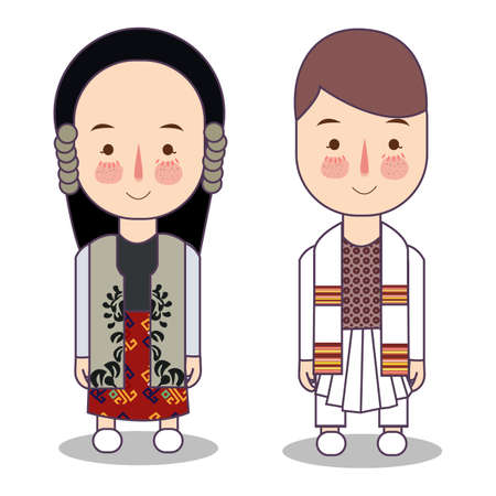 Traditional national clothes of Serbia. Set of cartoon characters in Serbian traditional costume. Cute people. Vector flat illustrations. headdress is called krpa trvelj Ilustração