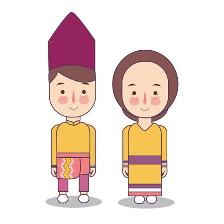 Southeast Sulawesi province wedding Couple, cute Indonesian traditional clothes costume bride and groom cartoon vector illustration