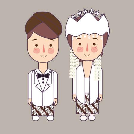 Sunda west java province wedding Couple, cute Indonesian traditional clothes costume bride and groom cartoon vector illustration