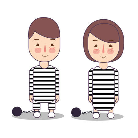 Convict criminal in striped uniform isolated on white. man and woman character in flat vector illustration.