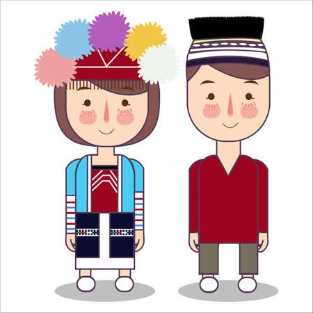 Taiwan wedding couple, cute Taiwanese traditional clothes costume bride and groom cartoon vector illustration