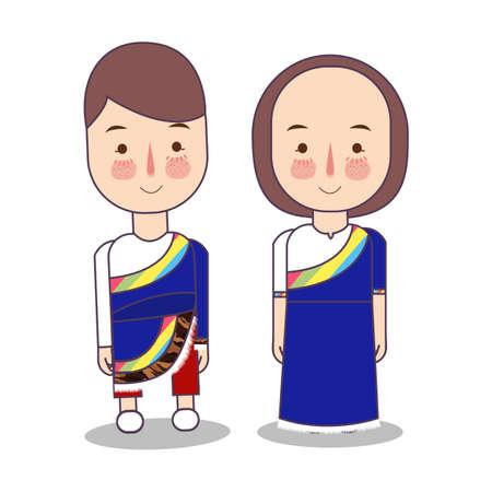 Tibet wedding Couple, cute tibetan traditional clothes costume bride and groom cartoon vector illustration Ilustrace