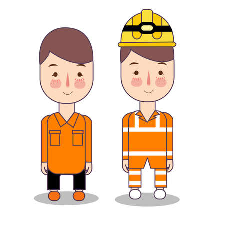 Two engineers with helmets and vests. Search and resque team or worker in engineering construction mining. safety concept of character vector.