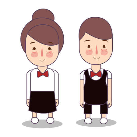 waitress male and female waiter. Vector character service restaurant. wearing red tie.