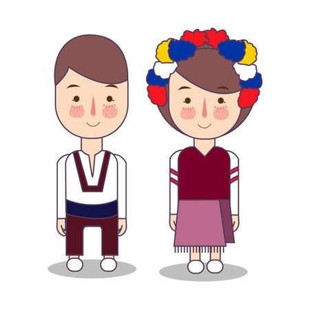 Ukrainian wedding Couple, cute Ukraine Eastern Europe traditional clothes costume bride and groom cartoon vector illustration