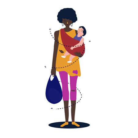 African mother the baby is hugging her to make her. Refugee woman standing poor poverty. Vector illustration.