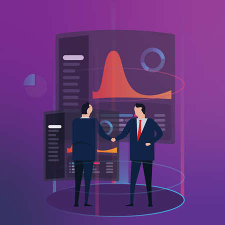 Analytics business data dashboard financial performance abstract. Employee manager handshake. Futuristic modern technology. Gradient vector color