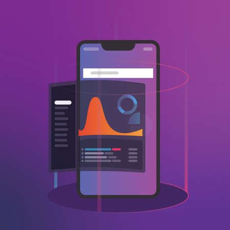 Intelligence and business analytics with key performance indicators dashboard concept. digital smart phone mobile application data. Futuristic modern gradient vector color Banco de Imagens - 124987235