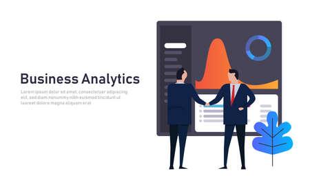 Analytics business data dashboard financial performance abstract. Employee manager handshake. Futuristic modern technology. Gradient color Reklamní fotografie