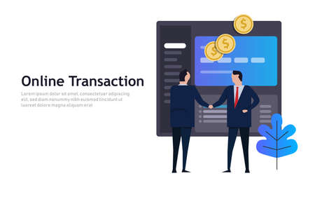 Businessmen shake hands with computer screen application online, Internet business, ecommerce concept.