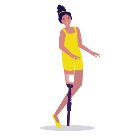 Disabled beautiful girl woman satisfied positive with disability. Vector illustration of pretty in world disability day play ballet danceng walking Ilustrace