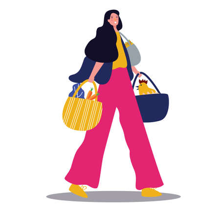 Lady with groceries walking with bag. Vector drawing illustration retail shopper