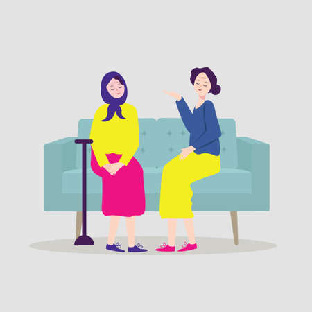 Adult Woman Talking To Her Mature Mother On The Couch Vector. Isolated Illustration Ilustrace