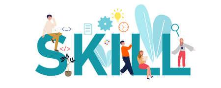 Skills concept illustration. Idea of self development. business team work. Vector