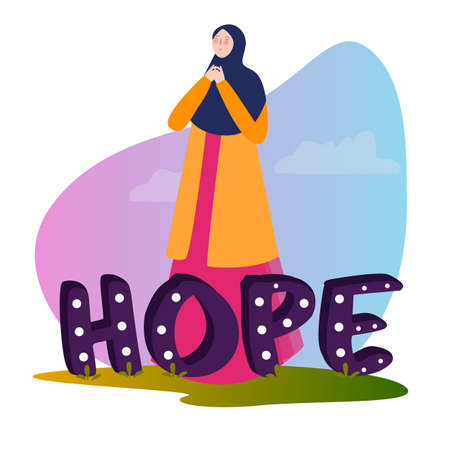 Hope typography motivational positive slogan with woman girl standing pray wearing hijab. 写真素材 - 131197192