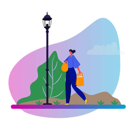Woman female walking in the park after shopping. Vector illustration of girl shopper