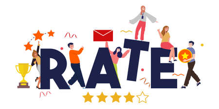 Rate teamwork together business team quality perfection. Five golden rating star vector illustration in white background. Foto de archivo - 128089469