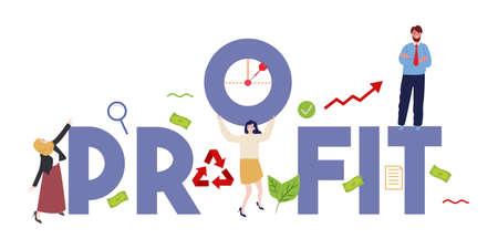 Profit finance concept illustration of profitability and teamwork. Work together business employee target. Vector illustration.
