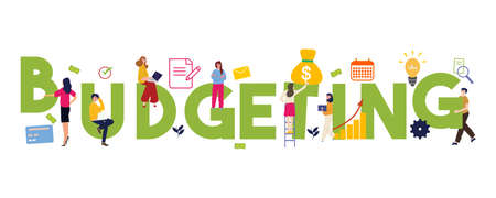 Budgeting word concepts of budget funding and financing. Financial planning. Isolated lettering typography idea with icons. Vector illustration Foto de archivo - 128156290