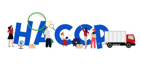HACCP Hazard Analysis Critical Control Points Vector Illustration Team arbeitet mit dem Management zusammen