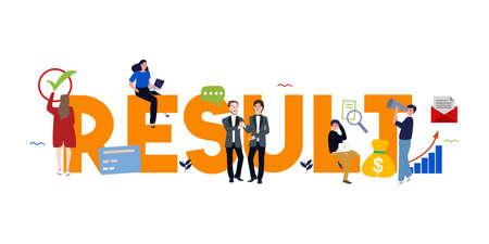 Mot de résultats écrit le concept d'entreprise de l'objectif d'atteinte des résultats en tant qu'indicateur de performance clé dans l'évaluation des employés. Vecteur. Vecteurs