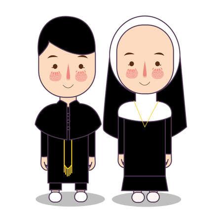Vector Catholic priest and nun character cartoon standing. Vector religion spiritual uniform.