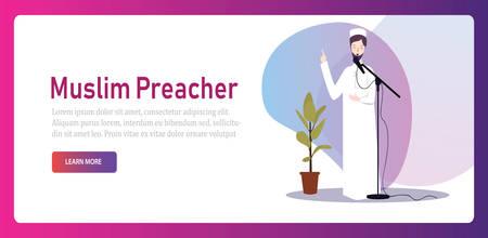 Muslim Islam preacher religious faith arabic prayer character male spiritual speaker
