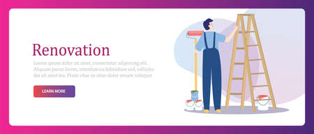 male painting his home walls from a stepladder. House renovation repair interior service. Banner vector illustration. Çizim